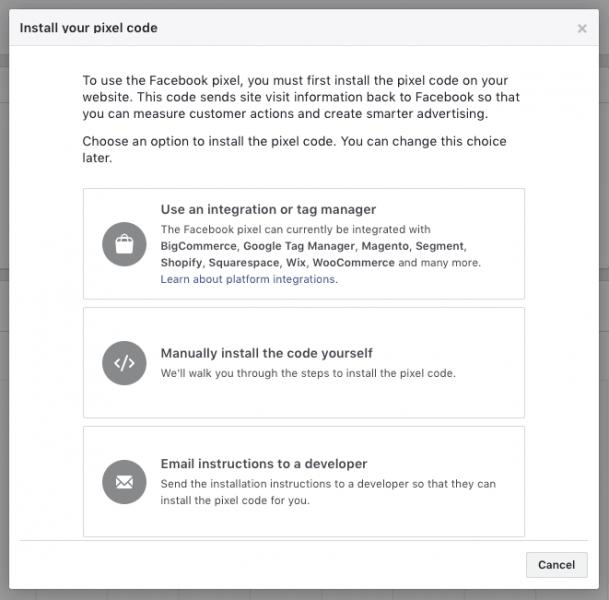 אפשרויות פיקסל פייסבוק