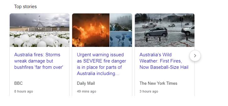 תצוגת חדשות בדפי החיפוש של גוגל