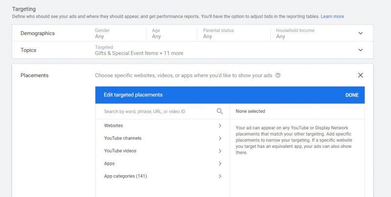 טרגוט אתר ייעודי ברשת התצוגה של גוגל