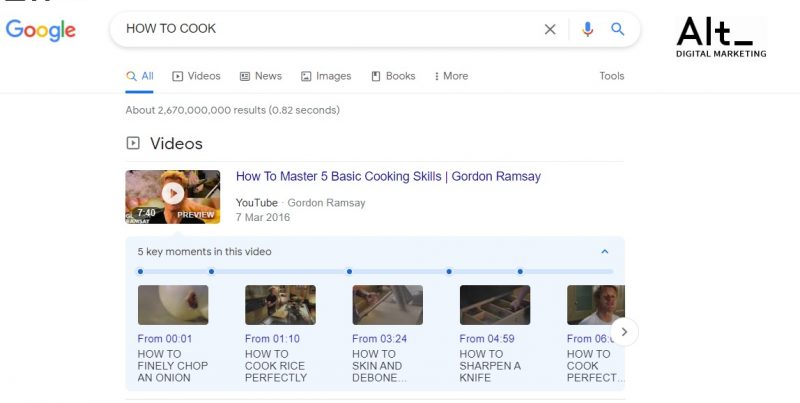סניפט וידאו בדפי התצוגה של גוגל